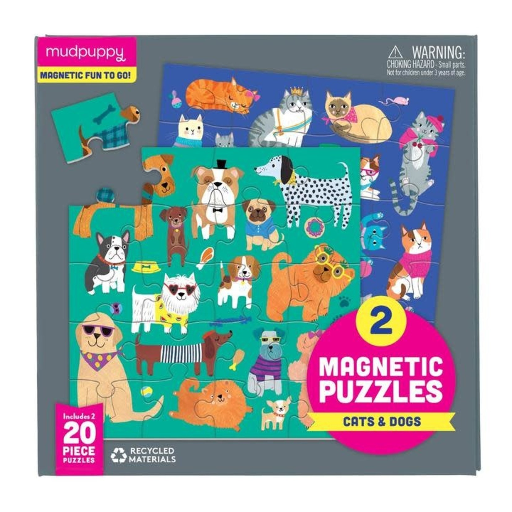 Mudpuppy Cats & Dogs Magnetic Puzzles 2x 20 - Piece jigsaw puzzles
