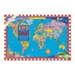 Eeboo World Map  - 100 Piece Jigsaw Puzzle (eeBoo)