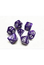 HD Dice Dice: 7-Set Pearl Purple with White Numbers (HD)