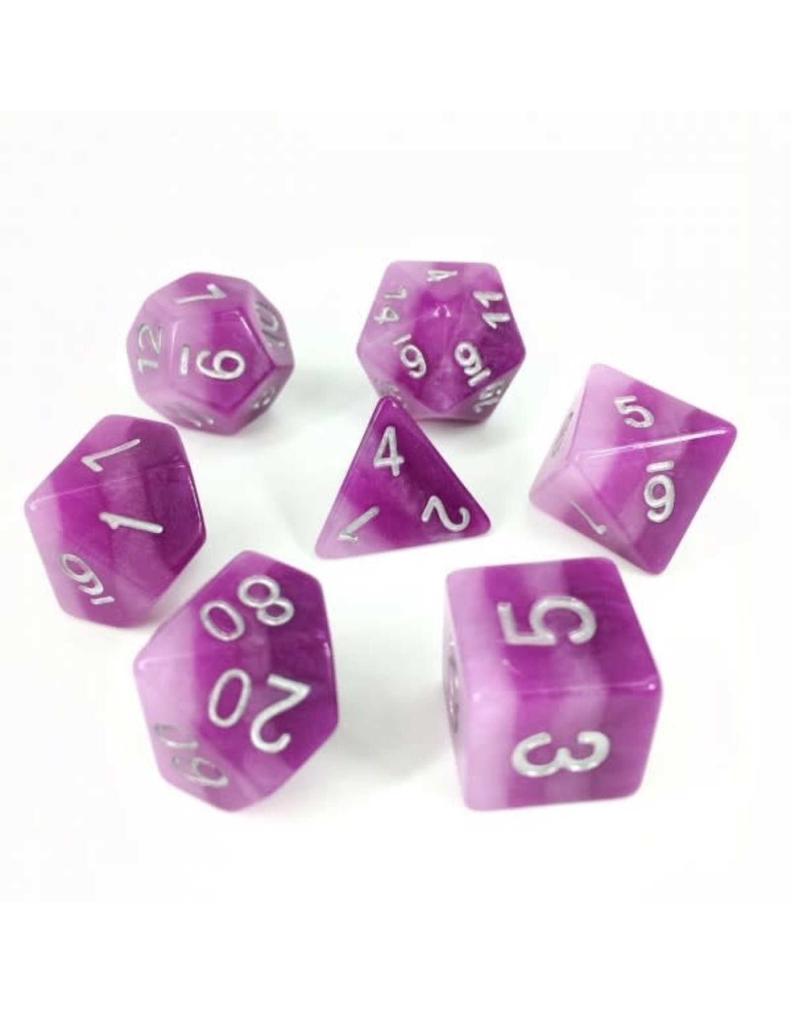 HD Dice Dice: 7-Set Gradient Purple with Silver Numbers (HD)
