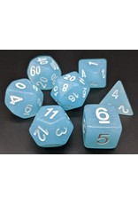 HD Dice Dice: 7-Set TR GlitterLight Blue with White Numbers (HD)
