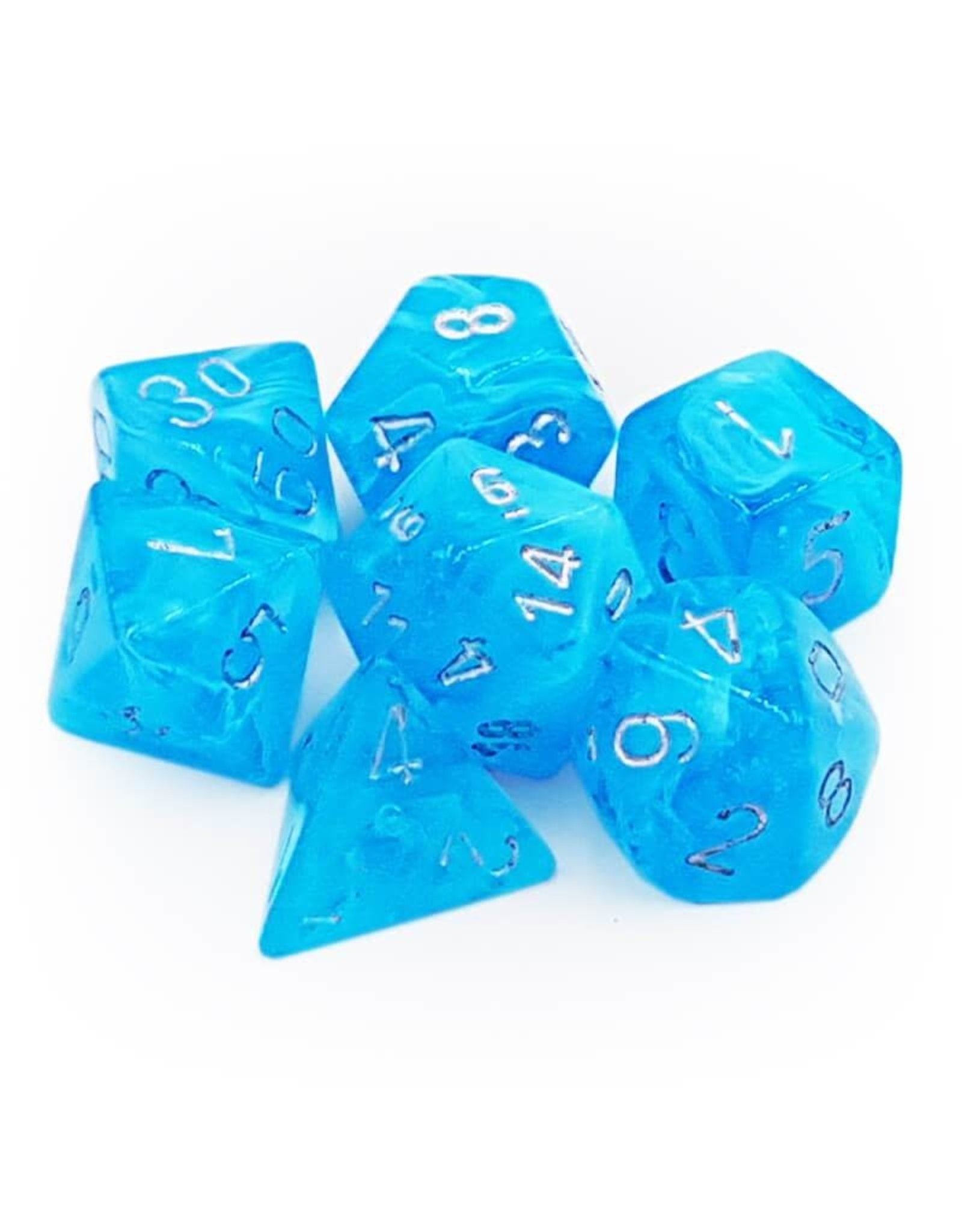 Chessex Dice: 7-Set  Luminary Sky Blue with Silver Numbers - Glow in the Dark (Chessex)