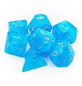 Chessex Dice: 7-Set Luminary Sky Blue w/Silver - Glow in the Dark (Chessex)