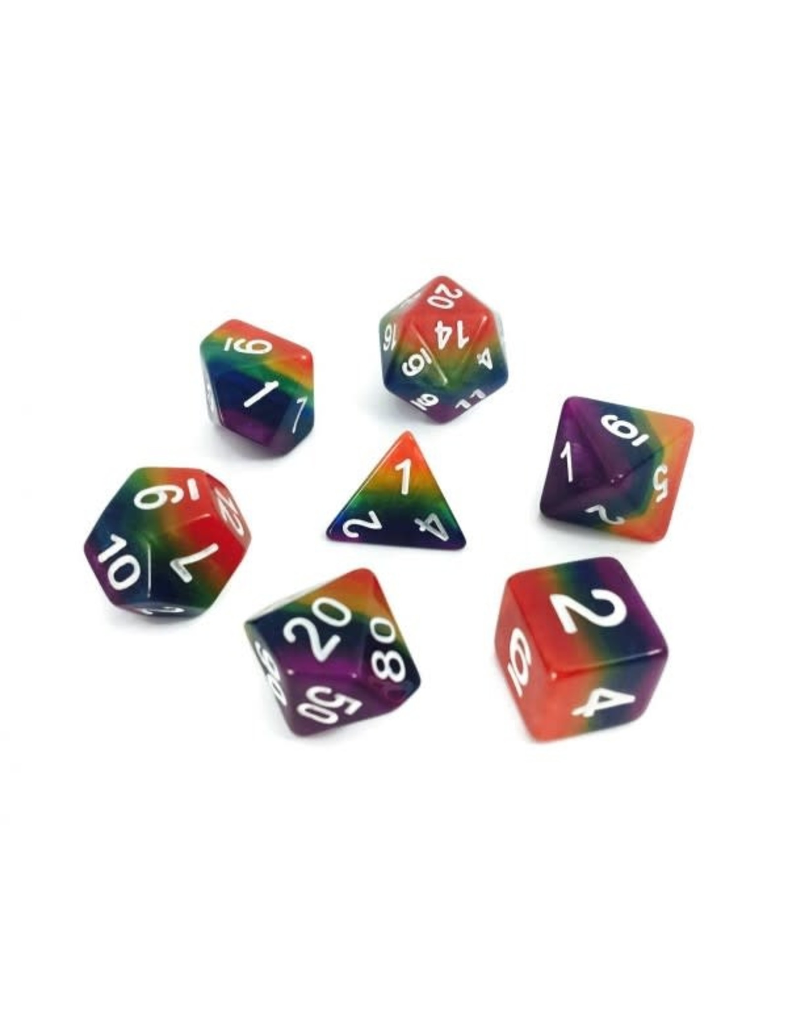 Dice: 7-Set Gradient Rainbow with White Numbers (HD)