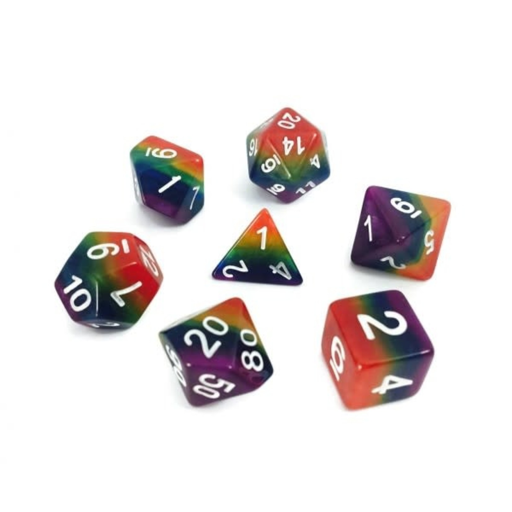 HD Dice Dice: 7-Set Gradient Rainbow with White Numbers (HD)