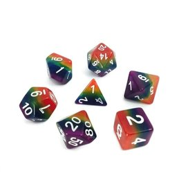 HD Dice Dice: 7-Set Gradient RAINBOW w/white (HD)