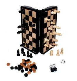 "Hansen Chess/Checkers/Backgammon Set 8"" Ebony Magnetic"
