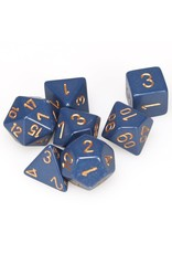 Chessex Dice: 7-Set Opaque Dusty Blue with Copper Numbers (Chessex)
