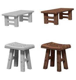 WizKids D&D Minis (unpainted): Wooden Table & Stools Wave 4, 72593