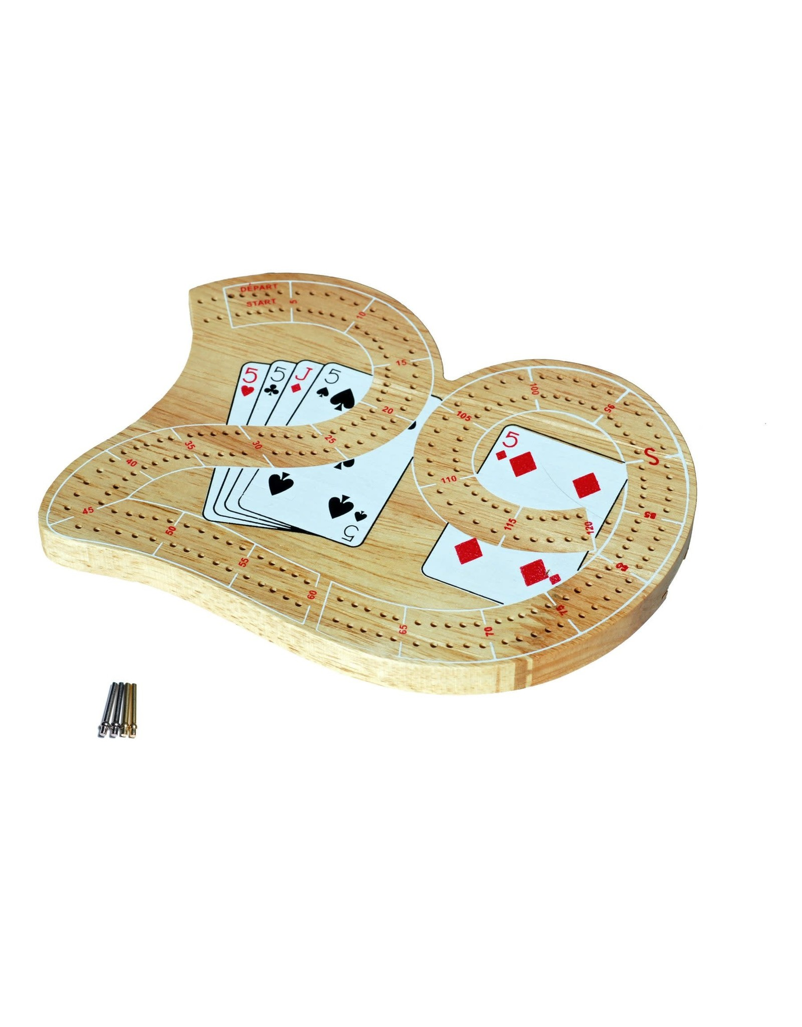 Wood Expressions Mini 29 Cribbage Set - Solid Wood 2 Track Board with Metal Pegs