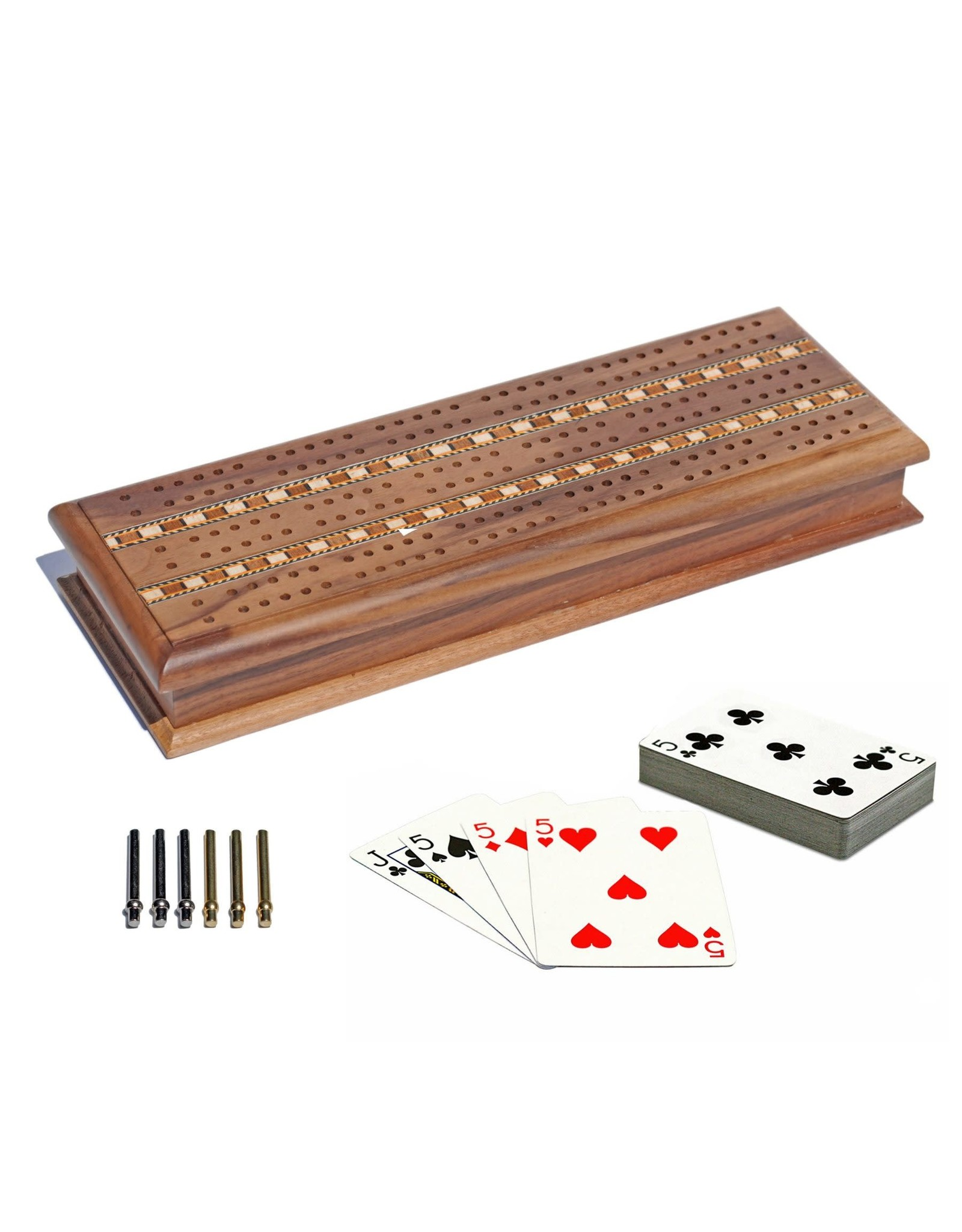 Wood Expressions Cabinet Cribbage Set - Solid Walnut Wood with Inlay Sprint 3 Track Board with Metal Pegs & 2 Decks of Cards