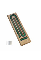 Wood Expressions Classic Cribbage Set - Solid Wood TriColor (Blue, Green, Red) Continuous 3 Track Board with Metal Pegs