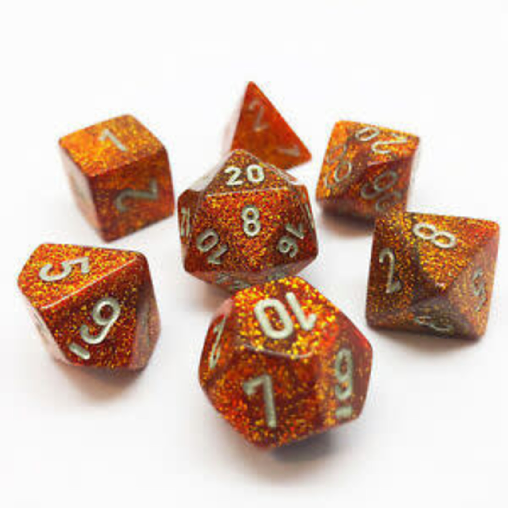 Chessex Dice: 7-Set Glitter Gold with Silver Numbers