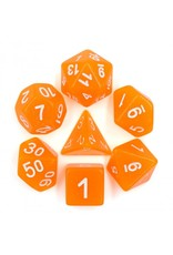 HD Dice 7-Set Translucent Orange Glitter with White Numbers (HD)