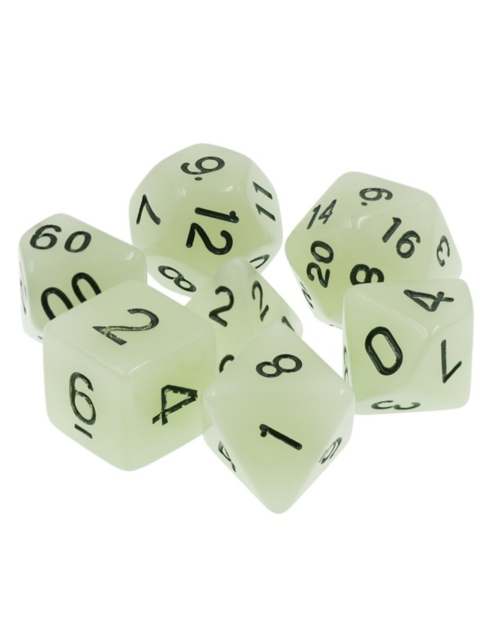 HD Dice 7-Set Glow in the Dark White Dice with Black Numbers (HD)