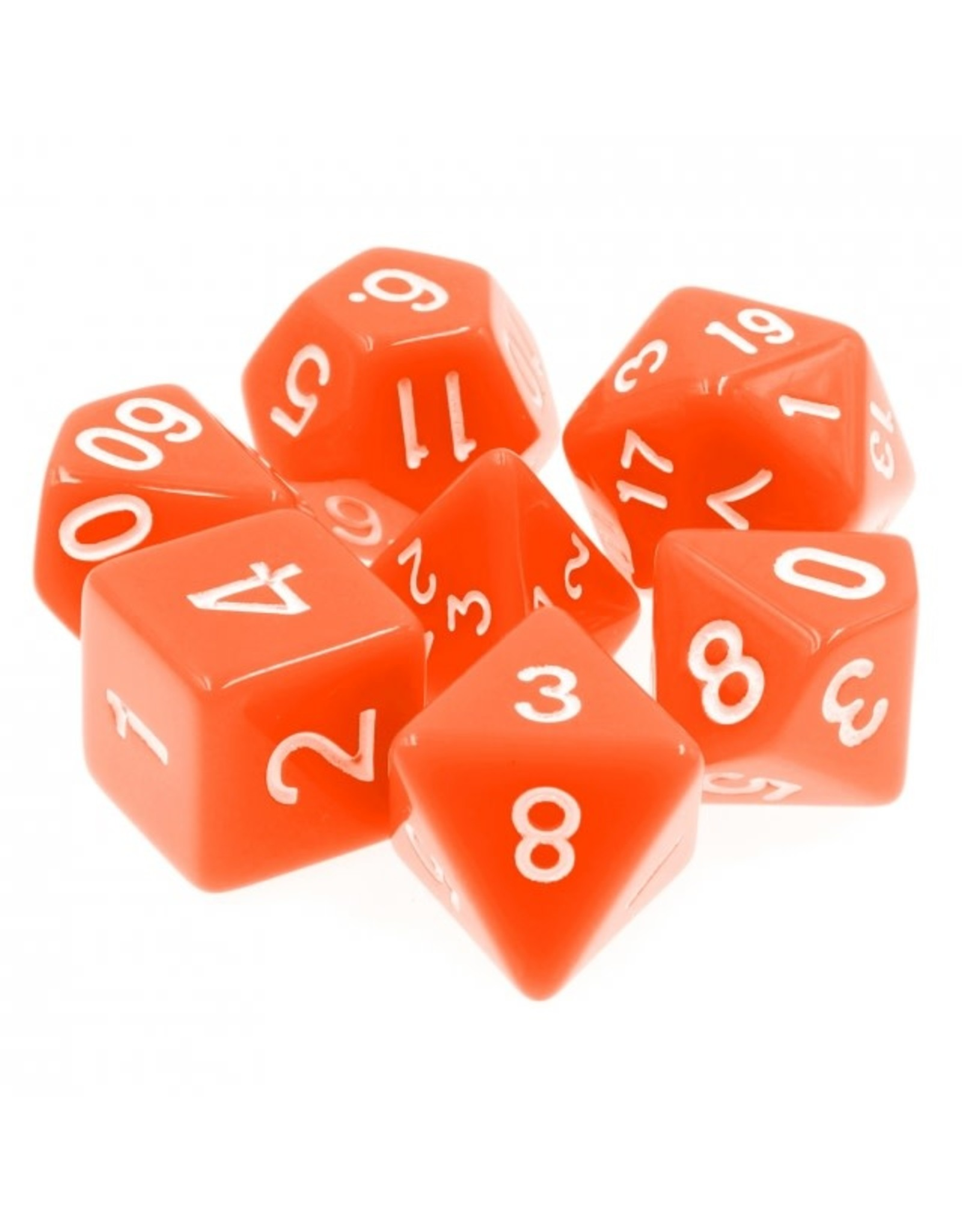 HD Dice Dice: 7-Set Opaque Orange with White Numbers (HD)