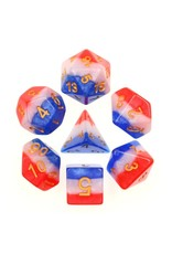 HD Dice 7-Set 3-Layer Red, White, and Blue with Gold Numbers (HD)
