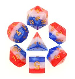 HD Dice 7-Set 3-Layer Red White Blue w/ Gold (HD)