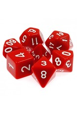 HD Dice 7-Set Opaque Red with White Numbers (HD)