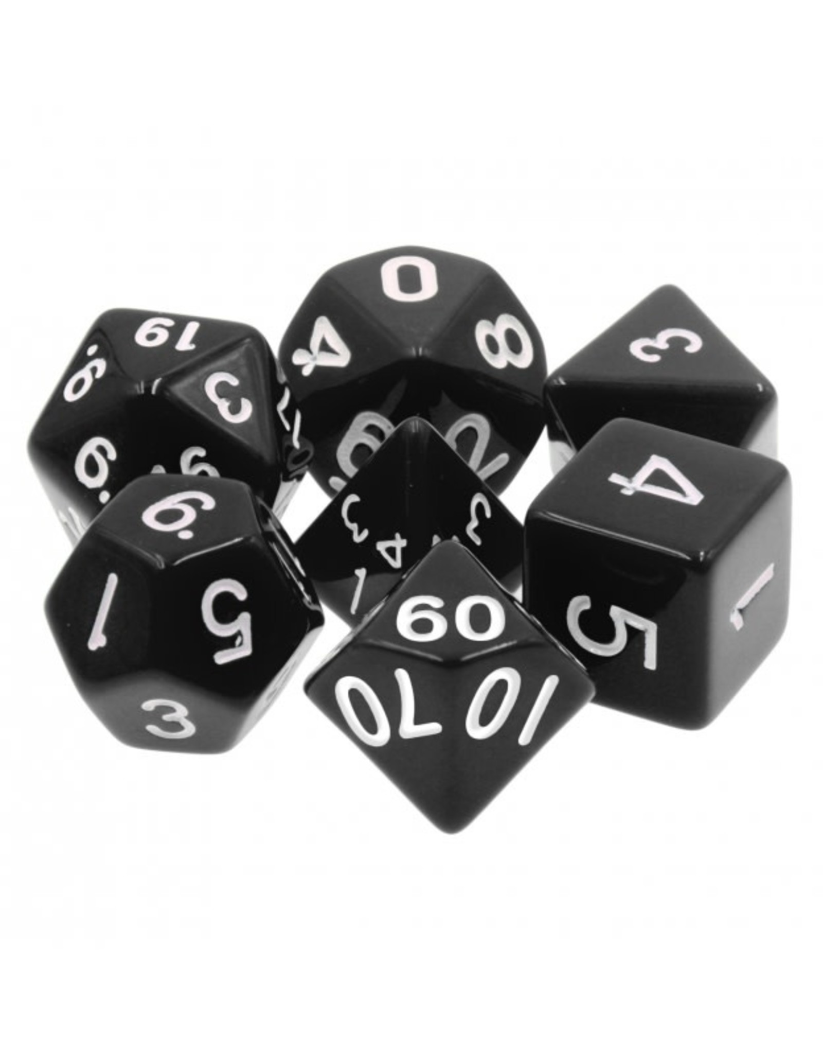 HD Dice 7-Set Opaque Black with White Numbers (HD)