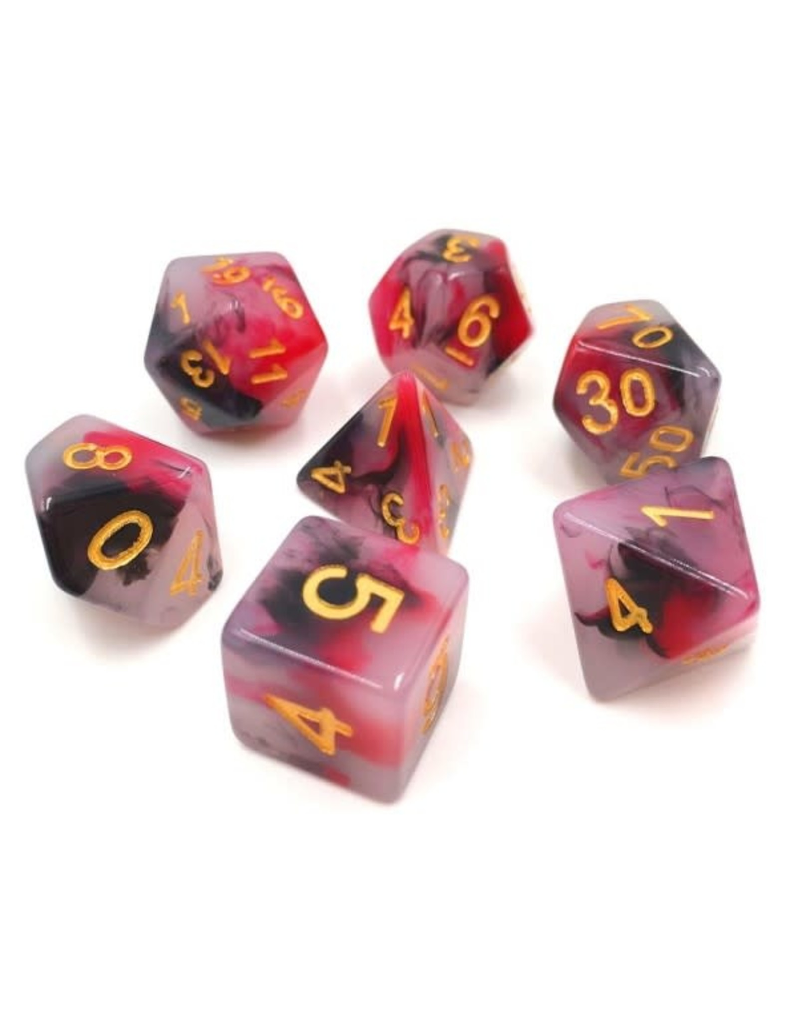HD Dice 7-Set Jade Black-Red with Gold Numbers