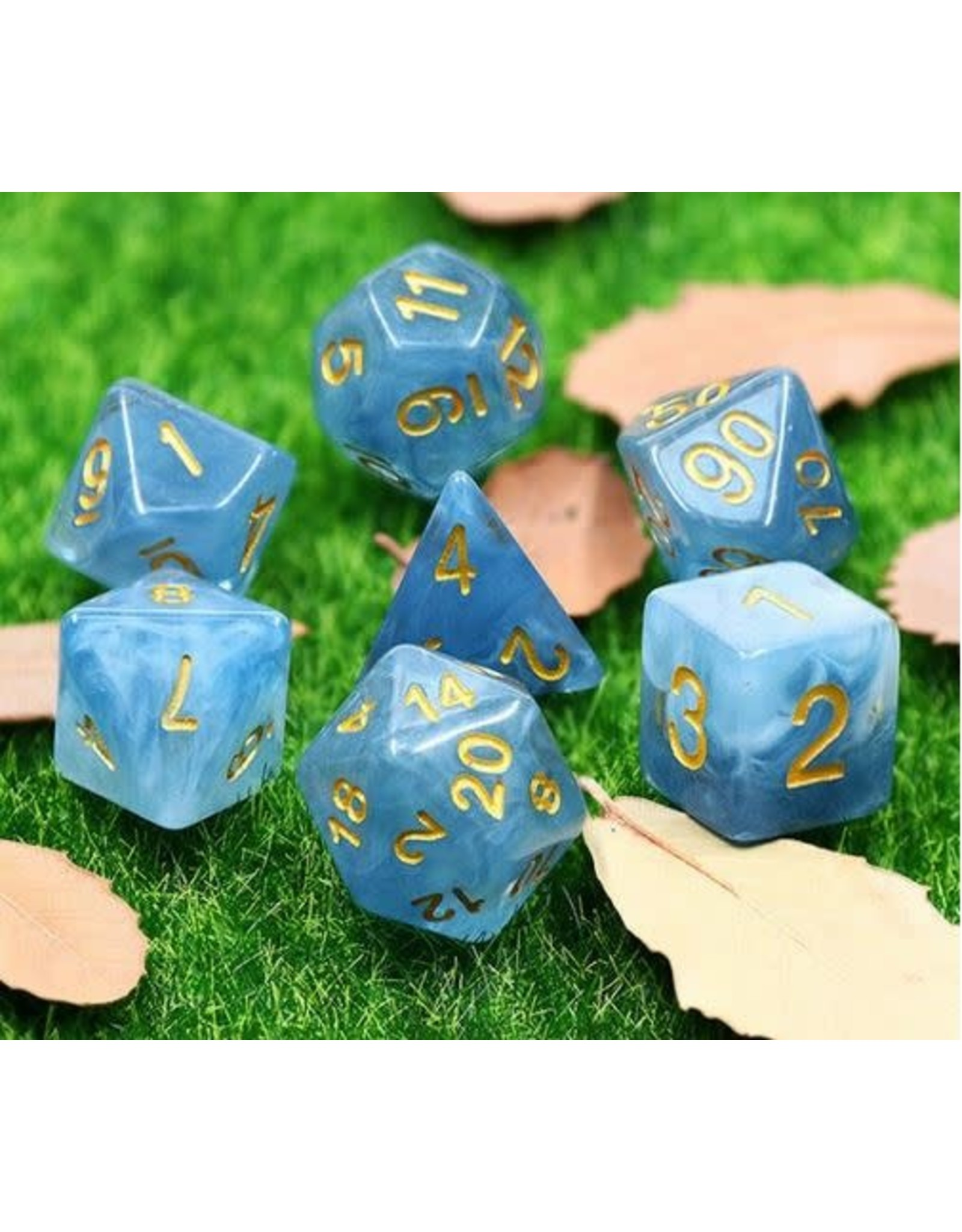 HD Dice 7-Set Jade Blue w/Gold Numbers