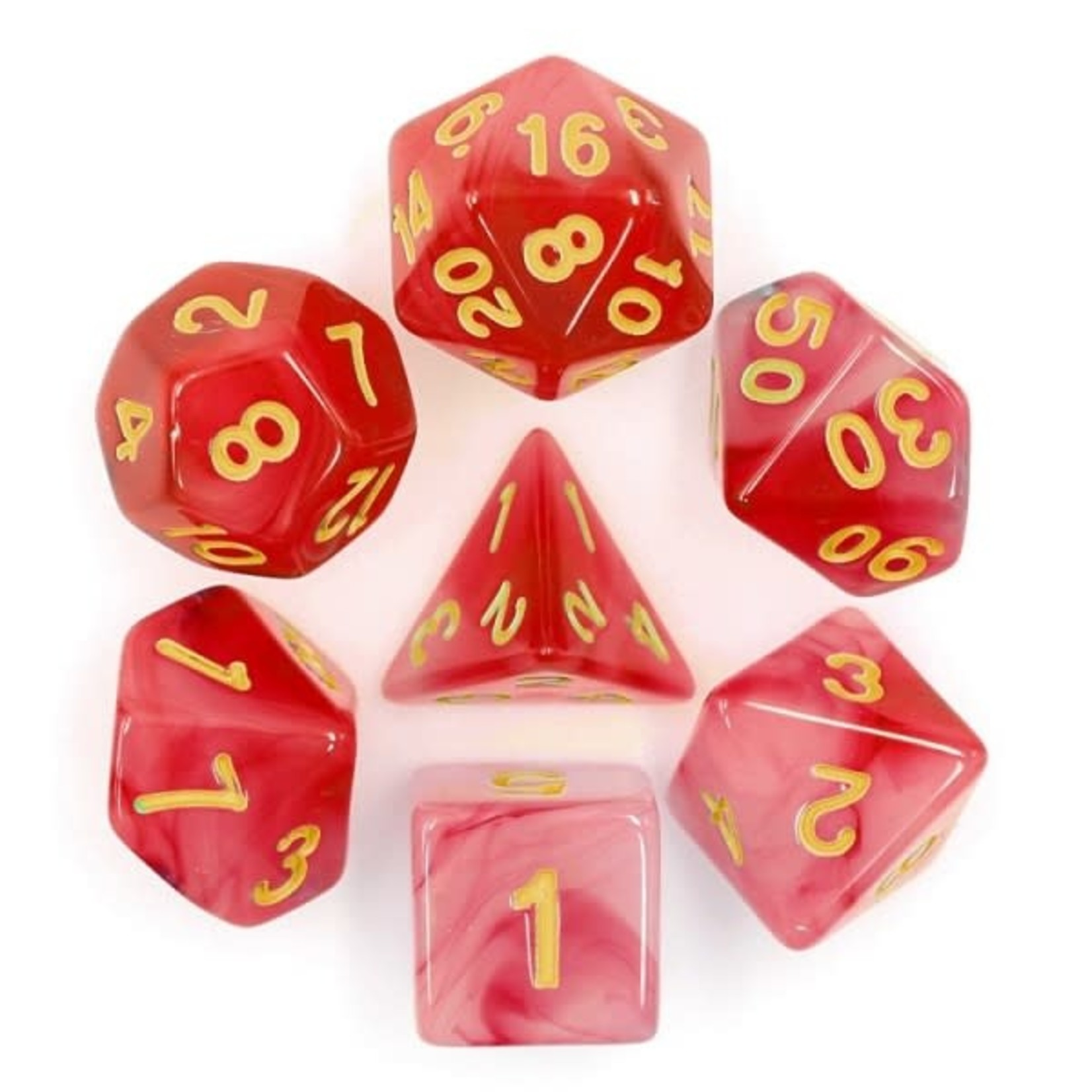 HD Dice 7-Set Milky Red with Gold Numbers
