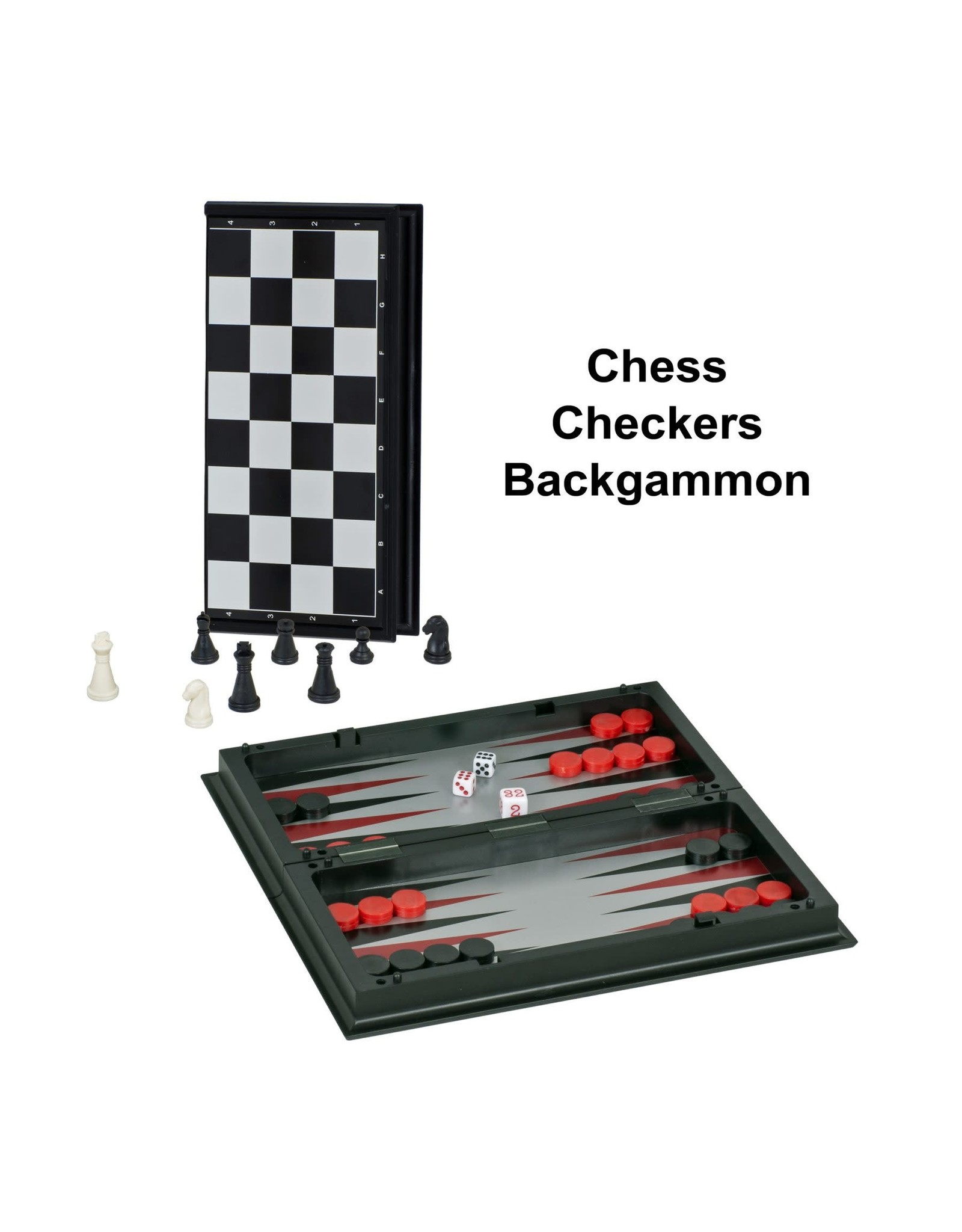 """Wood Expressions Chess Set 8"""" Magnetic 3-in-1"""