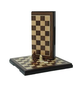 Wood Expressions 2-in-1 Chess & Checkers Set Walnut Magnetic 8""