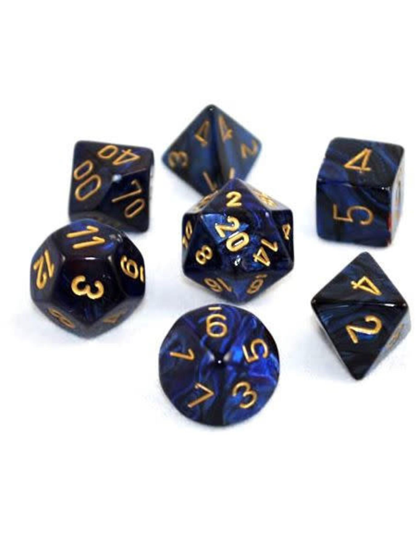 Chessex Dice: 7-Set Cube Gemini #3 Black, Blue w/gold (Chessex)