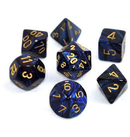 Chessex Dice: 7-Set Cube Gemini #3 Black, Blue w/gold (Chessex)