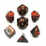 Chessex Dice: 7-Set Cube Gemini #3 Black Red w/gold (Chessex)