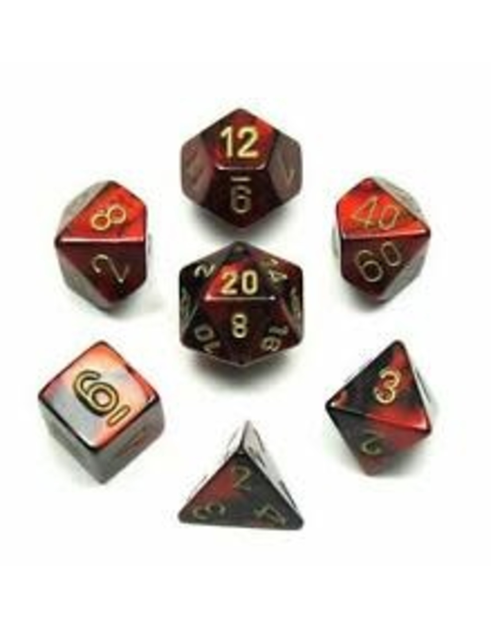Chessex Dice: 7-Set Cube Gemini #3 Black Red with Gold Numbers (Chessex)