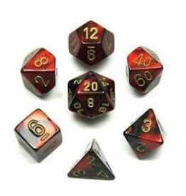 Chessex Dice: 7-Set Cube Gemini #3 Black Red w/gold (Chessex)