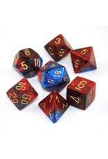Chessex Dice: 7-Set Cube Gemini #2 Blue Red with Gold Numbers (Chessex)