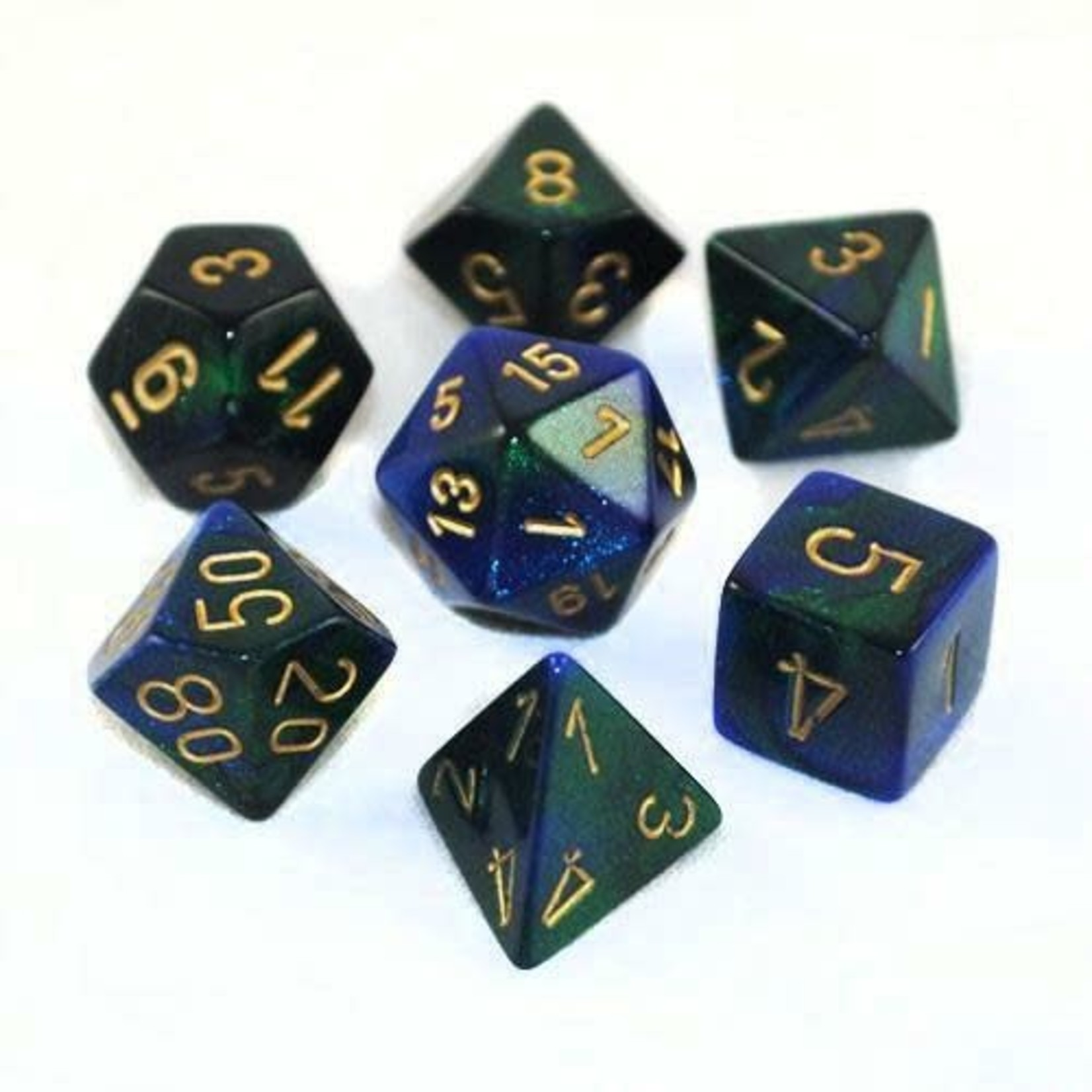 Chessex Dice: 7-Set Cube Gemini#3 Blue Green with Gold Numbers (Chessex)
