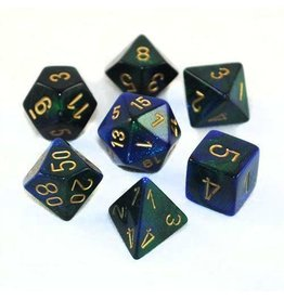 Chessex Dice: 7-Set Cube Gemini#3 Blue Green w/gold (Chessex)