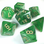 Chessex Dice: 7-Set Cube Vortex Green w/gold (Chessex)
