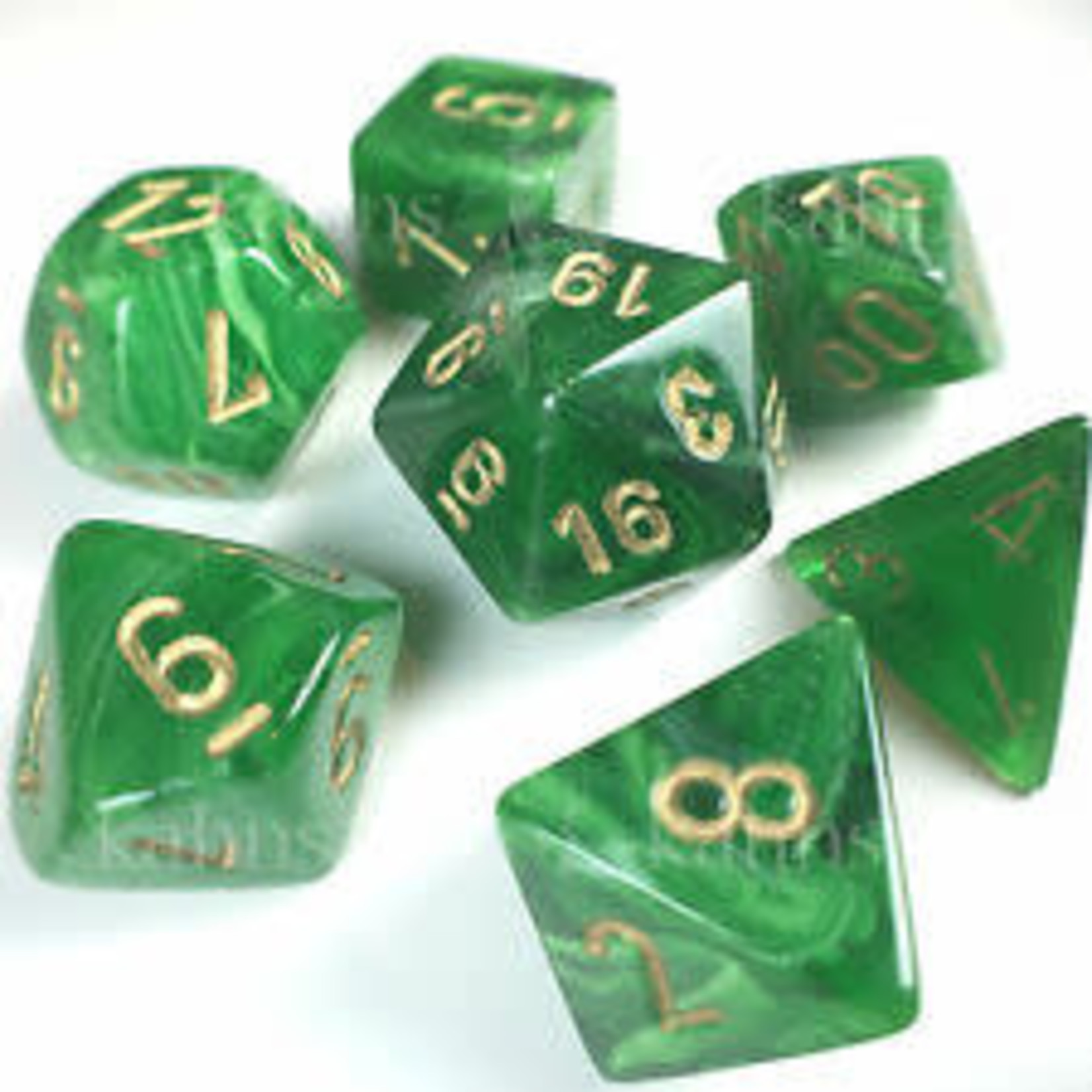 Chessex Dice: 7-Set Cube Vortex Green with Gold Numbers (Chessex)