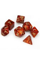Chessex Dice: 7-Set Cube Scarab Scarlet with Gold Numbers (Chessex)