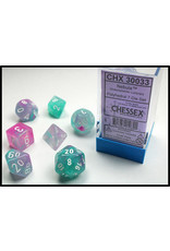 Chessex Dice: 7-set Cube Luminary Glow-in-Dark Wisteria with White Numbers (Chessex)