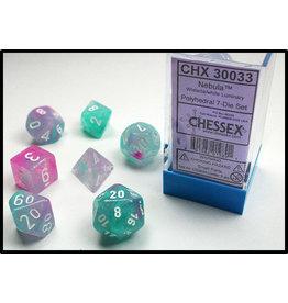 Chessex Dice: 7-set Cube Luminary Glow-in-Dark Wisteria w/White (Chessex)