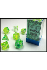 Chessex Dice: 7-set Cube Luminary Glow-in-Dark Spring with White Numbers (Chessex)