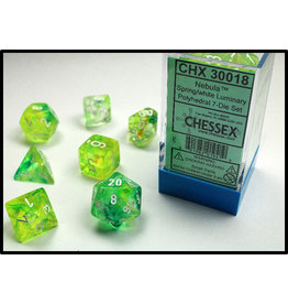 Chessex Dice: 7-set Cube Luminary Glow-in-Dark Spring w/ White (Chessex)