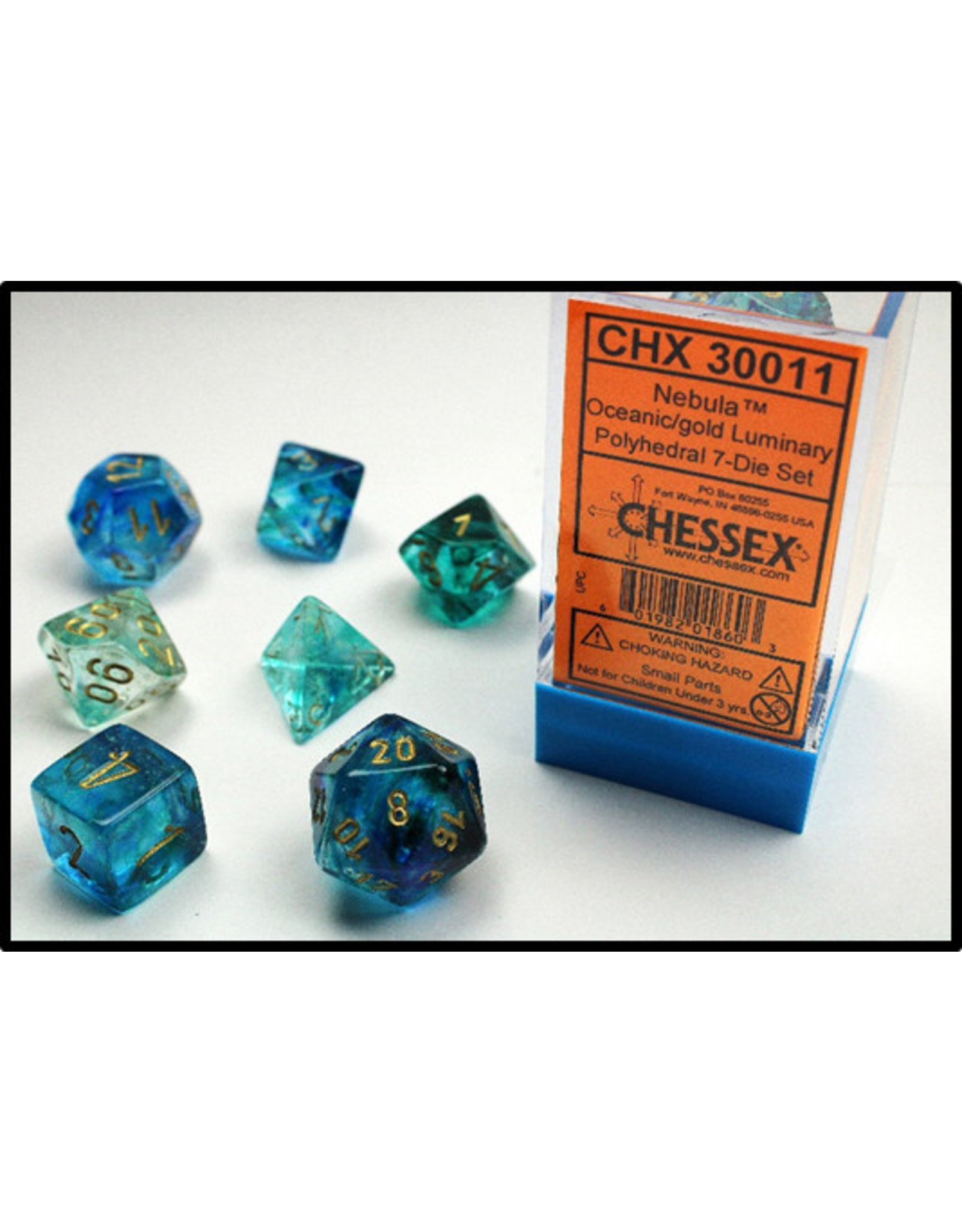 Chessex Dice: 7-set Cube Luminary Glow-in-Dark Oceanic with Gold Numbers (Chessex)