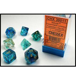 Chessex Dice: 7-set Cube Luminary Glow-in-Dark Oceanic w/Gold (Chessex)