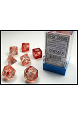 Chessex Dice: 7-set Cube Luminary Glow-in-Dark Red with Silver Numbers(Chessex)