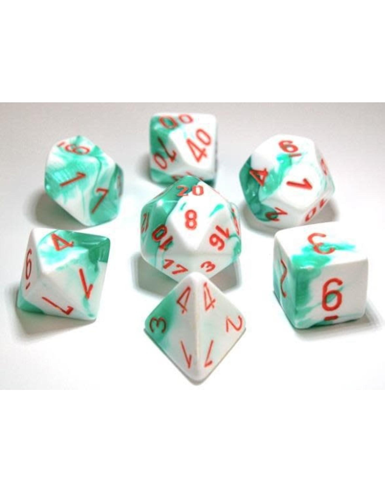 Chessex Dice: 7-setCube Lab Dice Gemini Mint Green White with Orange Numbers (Chessex)