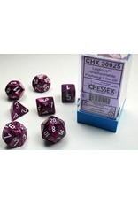 Chessex Dice: 7-set Cube Lustrous Amethyst with White Numbers (Chessex)