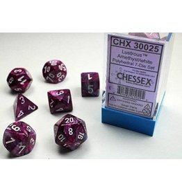 Chessex Dice: 7-set Cube Lustrous Amethyst w/white (Chessex)